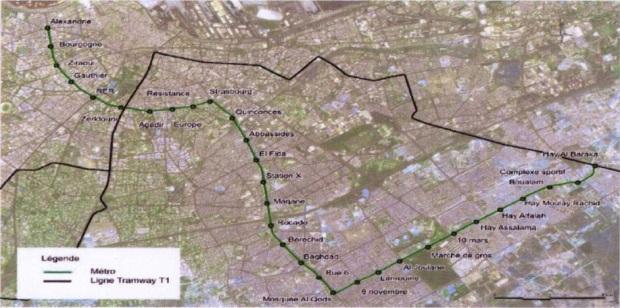 tracé métro aérien casa